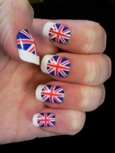Union Jack Nails with White Tips