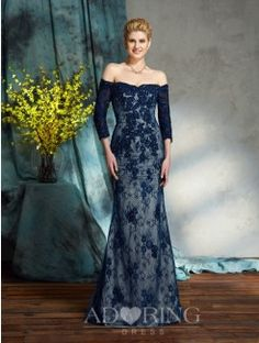 Mermaid Off-the-Shoulder 3/4 Sleeves Floor-Length Lace Mother of the Bride Dresses