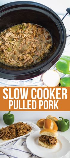 Slow Cooker Pulled Pork - make this super easy dinner recipe and use it in a variety of ways! One of our favorites is on rolls with cream cheese. Healthy Slow Cooker, Healthy Crockpot Recipes, Pork Recipes, Healthy Cooking, Slow Cooker Recipes, Cooking Recipes, Delicious Recipes, Easy Recipes, Healthy Food