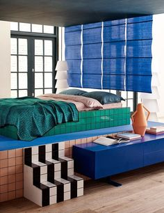 Unusual Tiled Bedroom in Modern Contemporary Bedrooms. A bedroom with platform bed, bright tiles and a graphic scheme. Home Bedroom, Bedroom Decor, Bedroom Ideas, Bedroom Styles, Master Bedroom, Memphis Design, The Design Files, Interior Design Inspiration, 80s Interior Design