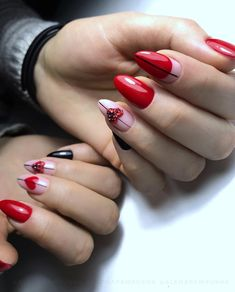 you'll discover of our favorite Valentine's Day nail designs that are far from cheesy. promise you'll fall in love with at least one. Holiday Nail Designs, Red Nail Designs, French Nail Designs, Beautiful Nail Designs, Holiday Nails, Christmas Nails, Red Acrylic Nails, Red Nails, Hair And Nails
