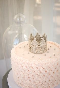 Pretty crown wedding cake would be adorable for a princess birthday also!