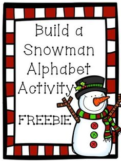 Build a Snowman alphabet activity- capital and lowercase letters, as well as their beginning sounds Kindergarten Literacy, Preschool Learning, Preschool Activities, Preschool Letters, Free Preschool, Preschool Printables, Early Literacy, Literacy Centers, Free Printables