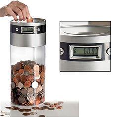 Sentik Supersized Digital UK Coin Bank Money Saving Jar Large LCD Display (Works with the new coin) Big Tub, Savings Jar, Digital Coin, Pile Aa, Money Box, Cool Gadgets, Cryptocurrency, Saving Money, Display