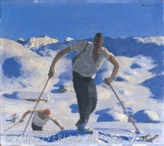 Walde-Aufstieg_quer_WZ Tempera, Kunst Online, Grafik Design, Museum, Bergen, Drawing People, Skiing, Art Deco, Retro