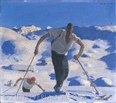 Walde-Aufstieg_quer_WZ Tempera, Kunst Online, Grafik Design, Museum, Drawing People, Skiing, Art Deco, Figure Drawings, Painting