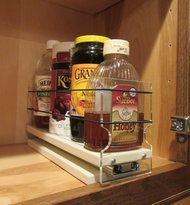 Organize cabinet spices or other small kitchen items in this slim multi-level organizer rack from Vertical Spice. This clear-view rack has 3 slide out drawers. Kitchen Cabinetry, Kitchen Flooring, Kitchen Countertops, Cabinets, Soapstone Kitchen, Spice Rack Storage, Cabinet Spice Rack, Spice Racks, Cabinet Storage
