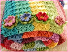 CROCHET--- Flower Blanket 56, Free Instructions.