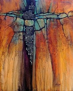 Geological Abstract Mixed Media Painting Diamond Mine by Colorado Mixed Media Abstract Artist Carol Nelson
