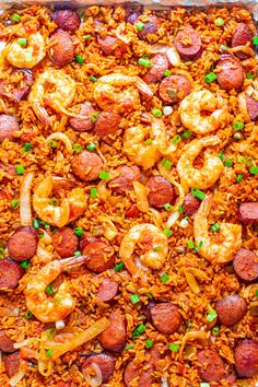 Sheet Pan Jambalaya – The EASIEST and BEST recipe for jambalaya you'll ever taste that's ready in 20 minutes! Juicy sausage and shrimp with tender rice and the PERFECT amount of kick will keep you going back for more! Seafood Recipes, Chicken Recipes, Healthy Fries, One Dish Dinners, Fast Easy Meals, How To Cook Rice, Cooking Together, Le Diner, Just Cooking