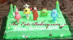 Yo Gabba Gabba custom hand made sugar figure butter cream birthday sheet cake with grass, trees, chocolate rocks and flowers.   #YoGabbaGabba