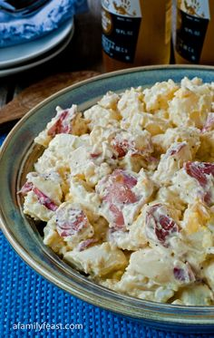 Jack's Potato Salad - A Family Feast _ A mixture of tender-cooked new red potatoes & hard-boiled eggs that are combined with a wonderful dressing made with mayonnaise, Dijon mustard, onion, white cider vinegar, sugar & other seasonings. It's the perfect marriage of flavors.