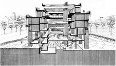 Wayne State University Humanities Building - Building Section - Paul Rudolph