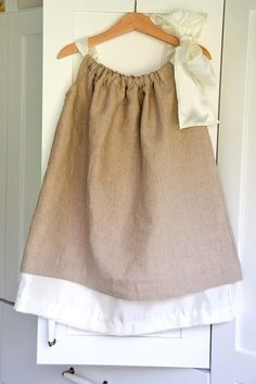 diy flower girl dress pillowcase - burlap- Kelsey!! Nancy could make this for all the girls, if you're still doing burlap and lace. or probably in any colors you wanted.