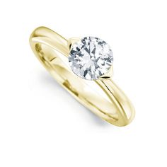 Open 2 Claw Round Diamond Engagement Ring In Yellow Gold