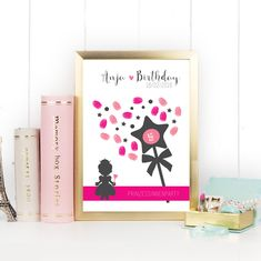 Kindergeburtstag - Papeterie Online Shop Österreich Daughter Birthday, Girl Birthday, Fingerprint Tree, Picture Frames, Fingerprints, A4, Texts, Printed, Room