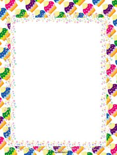 Birthday kids can use this free, printable, colorful cupcakes border as invitations for a party. Free to download and print.