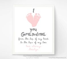 Personalized Mother's Day Gift for Grandma - I Love you Grandma Baby footprint Art - Gift for Grandmother - Gift for New Grandma on Etsy, $30.00