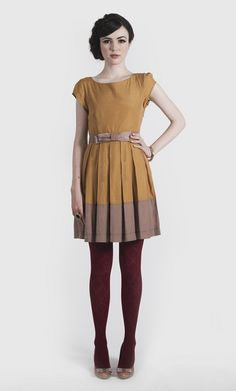 Gillian Dress - Mustard/Taupe
