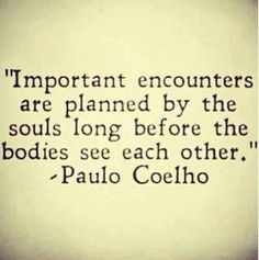 """Important encounters are planned by the souls long before the bodies see each other"" -Paulo Coelho"