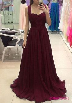 Burgundy Chiffon Prom Dresses Long A-line Floor-length Formal Gowns Simple Evening Dresses Sexy Party Dresses for Women PD20189833