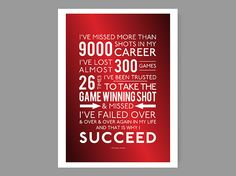 "And that is why I succeed - Michael Jordan / Quote Poster - Inspirational & colorful home decor / Sports, motivation, faith - 36"" x 48"" size on Etsy, $90.00"