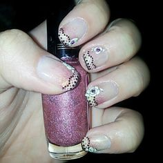 Pink gradient nails with golden touch and lace and rose decals from Hong Kong