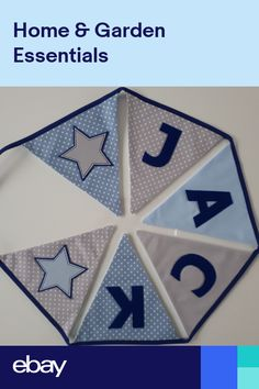 Personalised Blue & Grey Fabric Bunting ~ Name Gift Baby Boy ~ NurseryKids Blue Bunting, Fabric Bunting, Buntings, Party Flags, Party Banners, 1st Birthday Banners, 1st Boy Birthday, Boy Toddler Bedroom, Baby Bedroom