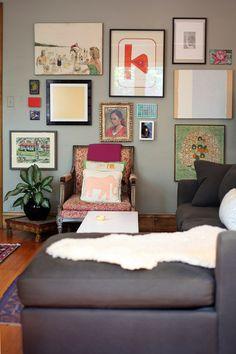 salon wall (via design*sponge My Living Room, Home And Living, Living Spaces, Living Room Inspiration, Interior Design Inspiration, Photo Deco, A Frame Cabin, Grey Walls, Sweet Home