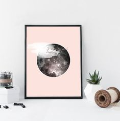 Pink galaxy art print quote art print round by WhiteDoePrints