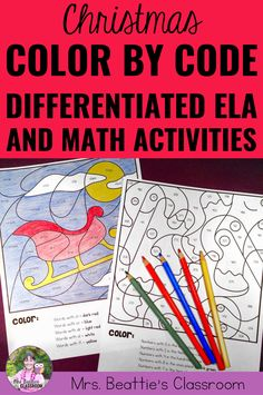 Keep your students working in the final weeks before your Christmas holidays with this 20 no-prep, differentiated Color By Code resource featuring both math and language skills. These activity pages are perfect for skill review or early finishers. #christmasactivitiesforkids #christmasactivities #classroom #teacher #teaching