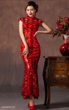 Red Chinese Wedding Cheongsam Sequined Lace Bridal Qipao
