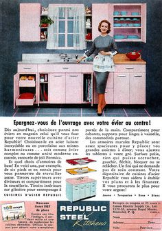 Fabulous pink 1950s cabinets! #vintage #1950s #kitchen #homemaker