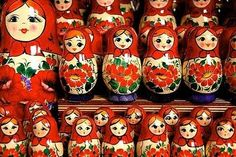 stacks and stacks of Russian nesting dolls...what's not to like!