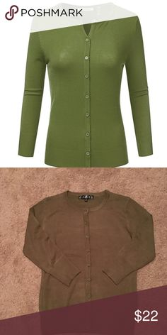 MAK Olive Green Crewneck Cardigan New without tags army khaki green cardigan by MAK. Modcloth Sweaters Cardigans