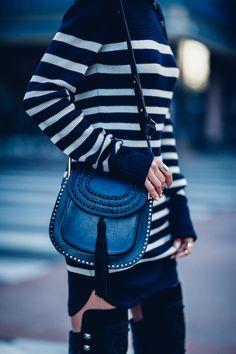Isabel Marant navy stripe knit dress, Chloé Hudson bag #StreetStyle