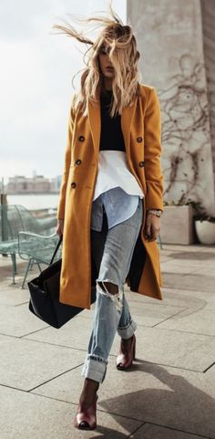 Yellow trench coat, distressed jeans, booties  Street style, street fashion, best street style, OOTD, OOTD Inspo, street style stalking, outfit ideas, what to wear now, Fashion Bloggers, Style, Seasonal Style, Outfit Inspiration, Trends, Looks, Outfits.