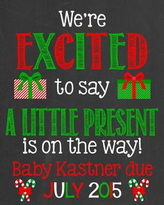 Christmas Pregnancy Announcement Chalkboard by PersonalizedChalk