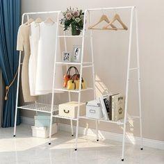 "Rebrilliant Bowden 60"" W Clothes Rack | Wayfair No Closet Solutions, Storage Solutions, How To Store Scarves, Black Closet, Shoe Shelves, Hanging Clothes, Closet Rod, Garment Racks, Space Saving"
