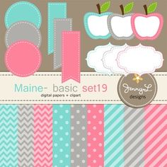 These Digital Papers and Label Cliparts Basic Set 19, Teacher Sellers Kit, Apple labels in bright colors: blue green turquoise, gray and pink colors are ideal for creating various art projects, classroom decors, teaching materials, digital scrapbooking, making invitations, other creative fun projects at school or home. ----------------------------------------------------------------------------- ~ 9 pcs.  12 x 12 inches digital background papers (.jpg ) (chevron, circles, strips)~ 12 labels…
