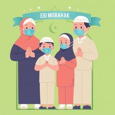 Eid Mubarak Greeting Cards, Eid Cards, Eid Mubarak Greetings, Happy Eid Mubarak, Family Illustration, Kawaii Illustration, Couple Musulman, Eid Al-adha, Eid Card Designs