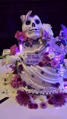 Sugar skull cake, flowers, led lights, glass skull, til death do us part