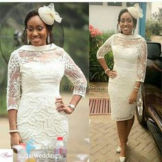Lace Dress Styles, African Lace Dresses, African Dresses For Women, African Attire, African Fashion Dresses, African Print Fashion, Classy Dress, Classy Outfits, Wedding Outfits