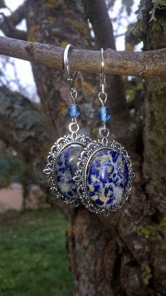 Boucles d'oreilles dormeuses pierre fine lapis-lazuli : Boucles d'oreille par des-filles-et-des-perles
