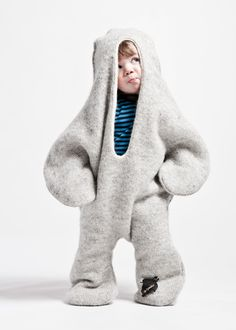 """The Baby Seal"" by Vík Prjónsdóttir, wearable seal blanket for children made of 100% Icelandic wool, 2006, photo: Marino Thorlacius"