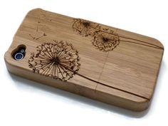 Iphone 4 hoesje - houten telefoon hoesjes bamboe, kersen of walnoten hout - Paardenbloem - laser engraved