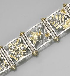 A diamond, platinum and gold bracelet, Alix  the link bracelet designed with square-framed platinum panels of various 22k gold floral motifs, accented by granulation and round brilliant-cut diamonds, connected by fluted hinges with diamond-set caps accented by 18k gold; signed Alix; estimated total diamond weight: 1.75 carats; length: 7 3/4in.