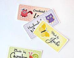 "Custom Fabric Labels Sew-on or Iron-on • 80 Labels  2 x 1"" Uncut • Your Name Added • Colorfast 100% Preshrunk Cotton •   10 Clip Art Animals..."