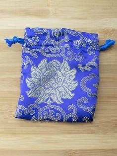 Premium Mala Bag - Blue Lotus Flower Brocade