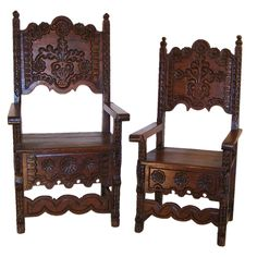 Spanish Colonial Husband And Wife Chairs